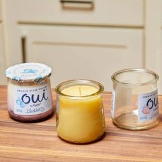 Glass yogurt jars are perfect to use as candle containers and these diy beeswax candles make great gifts! ^^ CLIK PIN FOR MORE INFO ^^ Mason Jar Crafts For Adults Crafts With Glass Jars, Mason Jar Crafts, Mason Jars, Creative Crafts, Fun Crafts, Summer Crafts, Creative Ideas, Diy Love, Candle Containers