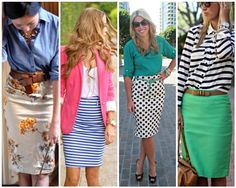 The Lovely Side: Pencil It In Working the Pencil Skirt into Your Work Attire, Including 25 Examples with Do's and Don'ts Skirt Outfits, Cute Outfits, Work Outfits, Striped Skirt Outfit, Stripe Skirt, Lula Roe Outfits, Work Wardrobe, Girls Wardrobe, Work Attire