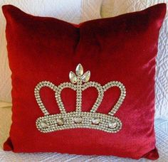 Red Velvet Crown Pillow for Christmas decor! Fab! www.crownchic.com