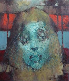 "Waclaw Sporski ""The Lady With The Veil"" 60х70 Oil On Canvas sporskiart.com"