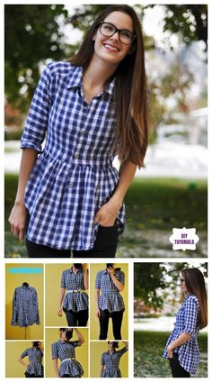 Repurpose Old Shirts into tops Creative Ideas to Repurpose Old Shirts into New Fashion - Turn men shirt into peplum Top Tutorial Umgestaltete Shirts, Men's Shirts And Tops, Cut Up Shirts, Tank Tops, Diy Clothes Refashion, Shirt Refashion, Diy Shirt, Diy Tank, Refashioned Clothes