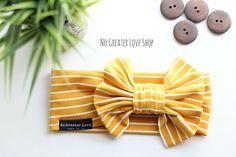 Mustard Pin Stripe Headband - Turban Headband - Bow Headband - Top Knot - Headwrap - Baby Child Adult - Buy One Give One