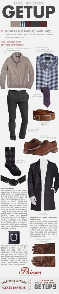 What to wear to a company holiday party.   #Getup #Menswear #Style #GuysGuide