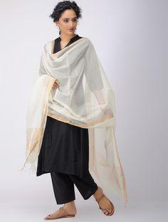 Ivory Silk Cotton Dupatta with Zari Border Shopping Coupons, White Romper, Ivory Silk, Indian Designer Wear, Office Wear, Indian Wear, Kimono Top, Ballet Skirt, Rompers