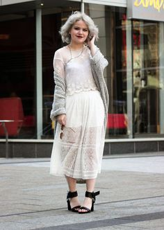 For To put together a casual getup with a clear fashion twist, opt for a grey open cardigan and a white pleated lace midi skirt. Finishing off with black leather heeled sandals is the most effective way to inject a dose of class into this ensemble. Midi Skirt Outfit, Black Midi Skirt, Skirt Outfits, Midi Skirts, White Lace Shorts, Fall Leggings, Heels Outfits, Black Leather Heels, Short Sleeve Blouse