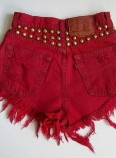 Spring / Summer Outfit - Red Shorts - Gold Studs