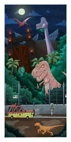 Cool Summer Movie Art Jurassic Park by Ian Glaubinger Jurassic Park Raptor, Jurassic Park 1993, Jurassic World 2015, Jurassic World Dinosaurs, Jurrassic Park, Park Art, Michael Crichton, Parc A Theme, Grand Parc