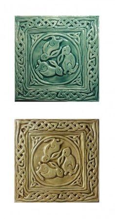 Two 6″ Celtic Rabbit Tiles