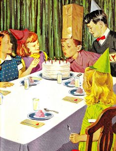 These were the kinds of sophisticated kid's parties we enjoyed in the 50s and 60s, complete with 'Pin the Tail on the Donkey' and dropping the clothespin in the milk bottle...Old School, Sure - Fun, you betcha!