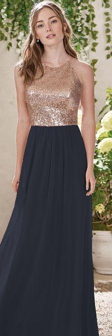 Navy blue and rose gold bridesmaid dress
