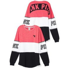 Varsity Crew PINK Victoria's Secret ❤ liked on Polyvore featuring tops, t-shirts, white crew t shirt, pink tee, victoria's secret, white tops and white tee