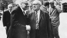 The Frankfurt School: Max Horkheimer (left) and Theodor Adorno (right), with Jürgen Habermas and others in the background