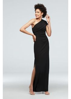 Detailed with sophisticated side ruching and a one-shoulder neckline, this stretch-crepe dress is both elegant and comfortable. DB Studio, exclusively at David's Bridal Polyester, spandex Side zipper; fully lined Dry clean China One Shoulder Bridesmaid Dresses, Davids Bridal Bridesmaid Dresses, Bridal Party Dresses, Event Dresses, Xmas Dresses, Wedding Outfits, Bride Dresses, Dress Wedding, Fall Wedding