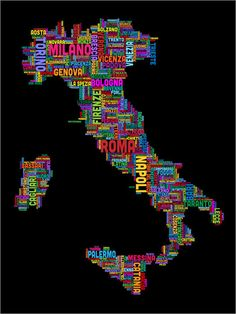 Text Map of Italy Map Art Print 12x16 inch 965 by artPause on Etsy, £12.99