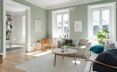 A graceful Gothenburg apartment for sale via broke. - - A graceful Gothenburg apartment for sale via broke. Sage Living Room, Home Design Living Room, New Living Room, Home And Living, Living Room Decor, Home Wall Colour, Light Green Walls, Mint Walls, Exterior Paint Colors For House