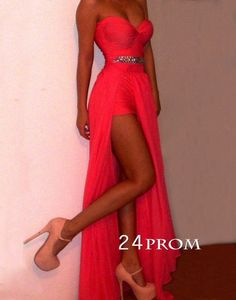 Coral Chiffon Sweetheart Neckline Floor Length Prom Dress, Evening Dre – 24prom