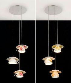 Creative Lighting Decoration with tea cups Tea Cup Lamp, Tea Cups, Luminaire Original, Diy Luminaire, Kitchen Lamps, Cozy Kitchen, Kitchen Lighting, Style Deco, Mad Hatter Tea