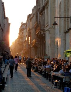 Sunset streetscape of Bordeaux, France.