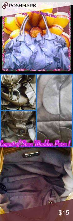 """Pretty Steve Madden ruffle bag❤️ This purse by Steve Madden is a very uniquely made,ruffles with gold studs,I don't know about you but I would like to face this world w/my own kind of style, don't you love when people stop u in the streets and ask, """"THAT BAG IS PRETTY,where did you get it?I want to face this world with style girl!H( laying flat) 101/2in(without handles)w16in(laying flat) girl this bag can most deff hold a lot!There is a rip by the zipper, this caught my eye,easily can be…"""