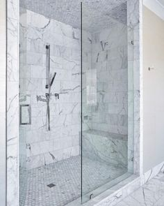 """524 Likes, 10 Comments - jenkins Interiors (@jenkinsinteriors) on Instagram: """"Squeaky clean  #whitemarble #shower ##modern #clean"""""""