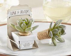 Adorable faux succulent bottle stoppers. Perfect spring or summer wedding favor, especially for a garden wedding
