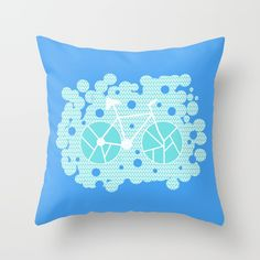 Throw Pillow made from 100% spun polyester poplin fabric, a stylish statement that will liven up any room. Individually cut and sewn by hand, each pillow features a double-sided print and is finished with a concealed zipper for ease of care.  Sold with or without faux down pillow insert. #homedecor #pillow #bike @society6
