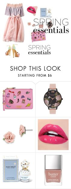 """""""Untitled #3"""" by dezaoldyeck ❤ liked on Polyvore featuring beauty, Moschino, Olivia Burton, 1928, Marc Jacobs and Butter London"""