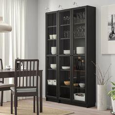Wood Glass Door, Glass Cabinet Doors, Glass Shelves, Liquor Cabinet, Billy Bookcase With Doors, Billy Bookcases, Billy Oxberg, Billy Regal, Kitchen Doors
