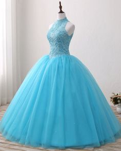 Blue Lace O Neck Strapless Long Tulle Quinceanera Dress, Formal Prom Gown from Sweetheart Dress - Gigi 15 anos - Luulla Dresses, Cute Prom Dresses, Sweet 16 Dresses, Trendy Dresses, Ball Dresses, Elegant Dresses, Beautiful Dresses, Ball Gowns, Formal Dresses