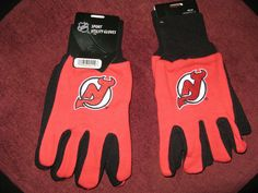TWO (2) PAIRS OF NEW JERSEY DEVILS , ALL PURPOSE SPORT UTILITY GLOVES #AmericanLogo #NewJerseyDevils