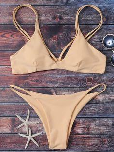 High Leg Strappy Bikini Set - APRICOT S