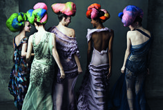 John Galliano's Best Moments in Vogue - Viktoriya Sasonkina, Coco Rocha, Karlie Kloss, Jourdan Dunn, and Raquel Zimmermann in John Galliano and Julien d'Ys headpieces