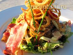 Salad with veal. My Recipes, Favorite Recipes, Burger, Bbq, Tacos, Menu, Lunch, Chicken, Vegetables