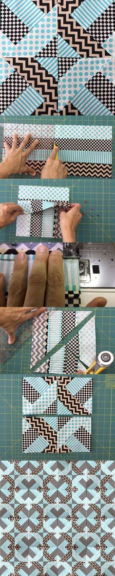 This block can appear to be a bit complex at first sight but it's quite simple to do. All you need is 4 strips of fabric the same size sewn together. Use high contrasting fabrics for better results...