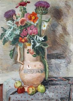 Flowers and thistles, Vanessa Bell. - ◇Vanessa Bell was an English painter and interior designer, a member of the Bloomsbury group, and the sister of Virginia Woolf. Vanessa Bell, Duncan Grant, Virginia Woolf, Bell Art, Bloomsbury Group, Oeuvre D'art, Painting & Drawing, Flower Art, Still Life