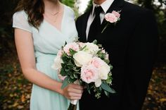 Sweet pink, white and green wedding flowers