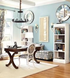 Light blue home office with gray accents
