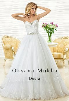 """Wedding Dress """"DOURA"""" by Oksana Mukha is available at Bridal Allure Cape Town, South Africa Gown Style Dress, White Ball Gowns, Beautiful Gowns, Bridal Collection, Silk Satin, Designer Dresses, Tulle, Feminine, Couture"""