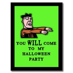 Zombie Halloween Party Invitations Postcards