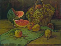 View Still life by Vasily Belikov. Browse more art for sale at great prices. New art added daily. Buy original art direct from international artists. Shop now Watermelon Painting, Oil On Canvas, Canvas Art, Original Art, Original Paintings, Oil Painting For Sale, Painting Still Life, Impressionism Art, All Art
