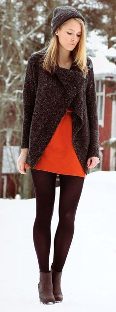 Shop this look on Lookastic: https://lookastic.com/women/looks/open-cardigan-sheath-dress-ankle-boots-beanie-tights/7180   — Charcoal Beanie  — Dark Brown Open Cardigan  — Orange Sheath Dress  — Brown Wool Tights  — Dark Brown Leather Ankle Boots