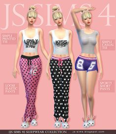 [JS SIMS 3&4] Sleepwear collection | JS SIMS