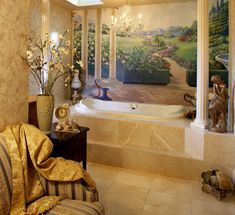 Traditional Interior Design Tampa Andrea Lauren Elegant Interiors offers high end interior design and luxury home decorating services Interior Design Photos, Bathroom Interior Design, Luxury Bathtub, Tuscan Style Homes, Basement Inspiration, Mediterranean Home Decor, Tuscan Decorating, French Decor, Outdoor