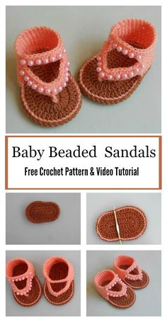 Crochet Baby Shoes Baby Beaded Sandals Free Crochet Pattern and Video Tutorial Crochet Baby Boots, Crochet Baby Sandals, Booties Crochet, Crochet Baby Clothes, Crochet Shoes, Crochet Slippers, Baby Booties, Knitted Baby, Crochet Dolls