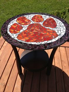 Clemson Tiger Stained glass table I made, can be equipped with a light box to shine through, absolutely gorgeous.