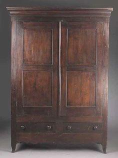Early American Solid Oak Knockdown Armoire Primitive