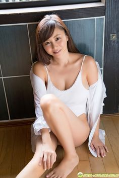 Anri Sugihara (Japanese model) in beautiful white one-pièce swimsuit and lingerie, hot legs.