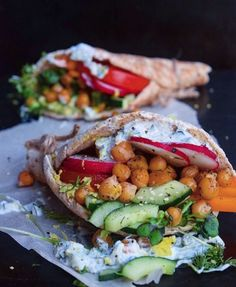 """veganfoody: """" Vegan Dill Pickle Roasted Chickpea Gyros """""""