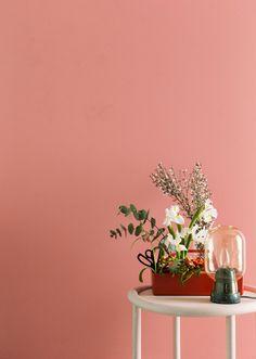 Deko magazine / April for Deko-magazine by Susanna Vento Pink Bedroom Walls, Bedroom Wall Colors, Bedroom Color Schemes, Living Room Colors, Colour Schemes, Pared Color Salmon, Salmon Pink Color, Salmon Bedroom, House Colors