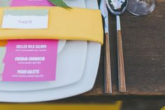 pink yellow place setting - photo by Two Foxes Photography http://ruffledblog.com/tropical-july-4th-styled-wedding